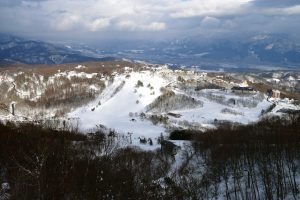 The Northern Nagano valley opens up behind the Madarao Kogen hotel.