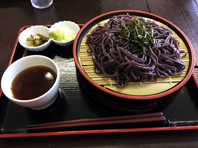 Purple Udon: One of the many delicious options at Yutaki Onsen's cafeteria.